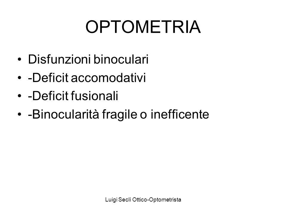 OPTOMETRIA Disfunzioni binoculari -Deficit accomodativi -Deficit fusionali -Binocularità fragile o inefficente Luigi Seclì Ottico-Optometrista