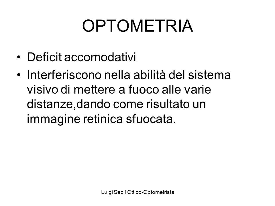 OPTOMETRIA Deficit accomodativi Interferiscono nella abilità del sistema visivo di mettere a fuoco alle varie distanze,dando come risultato un immagine retinica sfuocata.