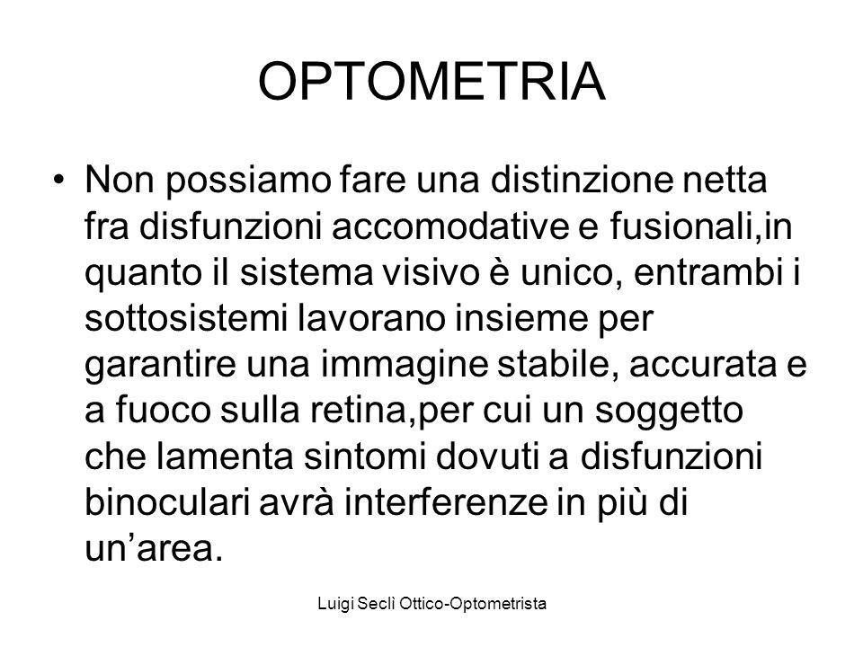 OPTOMETRIA Non possiamo fare una distinzione netta fra disfunzioni accomodative e fusionali,in quanto il sistema visivo è unico, entrambi i sottosiste