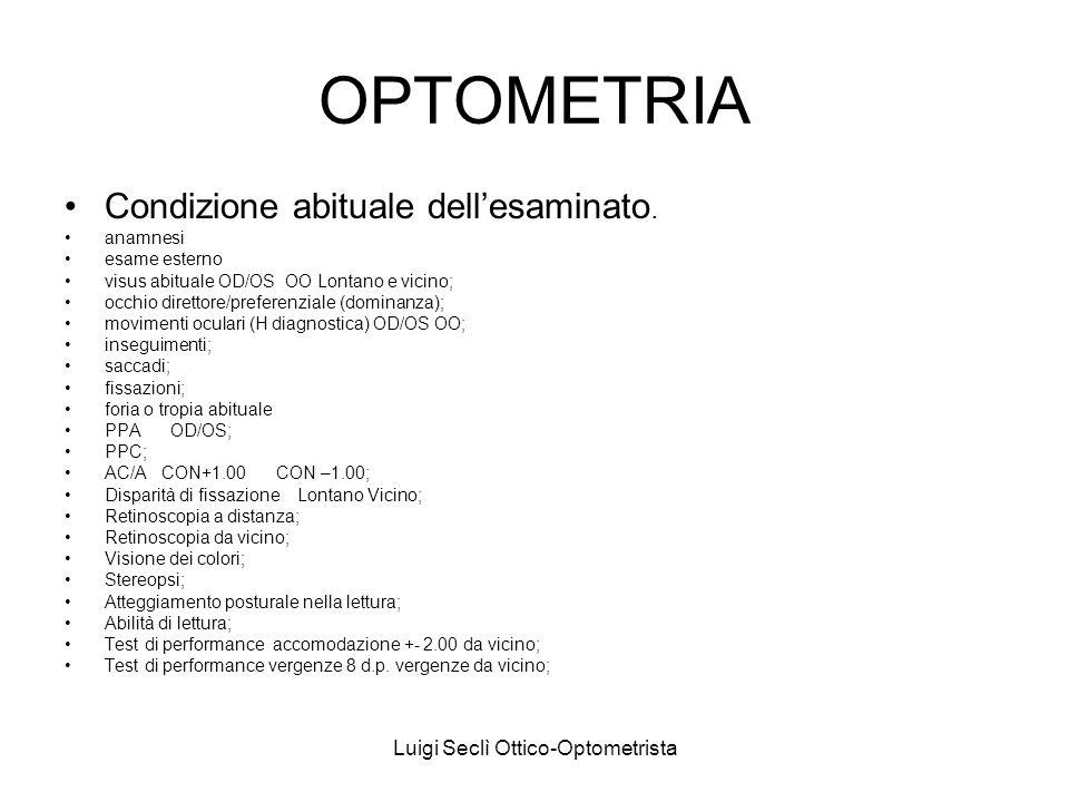 Luigi Seclì Ottico-Optometrista OPTOMETRIA Condizione abituale dellesaminato. anamnesi esame esterno visus abituale OD/OS OO Lontano e vicino; occhio
