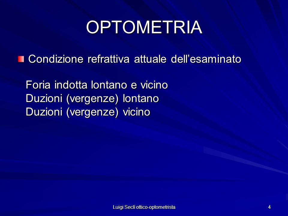 Luigi Seclì ottico-optometrista 4 OPTOMETRIA Condizione refrattiva attuale dellesaminato Foria indotta lontano e vicino Duzioni (vergenze) lontano Duz