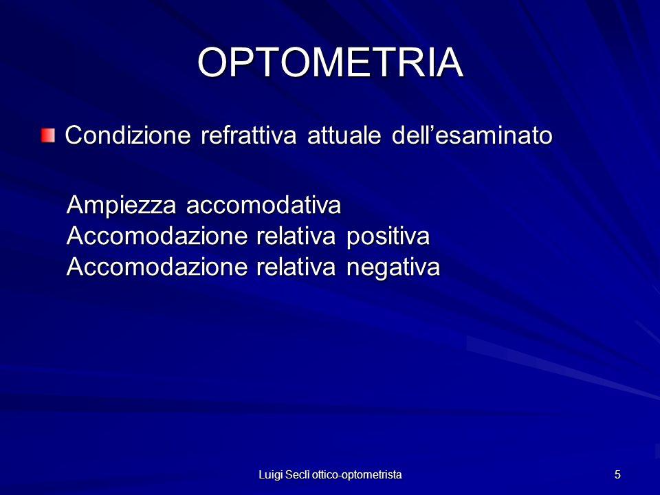 Luigi Seclì ottico-optometrista 5 OPTOMETRIA Condizione refrattiva attuale dellesaminato Ampiezza accomodativa Accomodazione relativa positiva Accomod