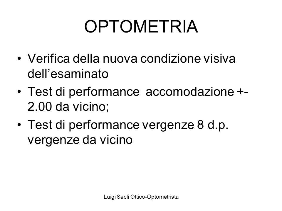 Luigi Seclì Ottico-Optometrista OPTOMETRIA Verifica della nuova condizione visiva dellesaminato Test di performance accomodazione +- 2.00 da vicino; T