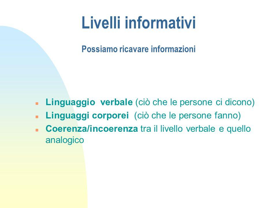 Livelli informativi Possiamo ricavare informazioni n Linguaggio verbale (ciò che le persone ci dicono) n Linguaggi corporei (ciò che le persone fanno)