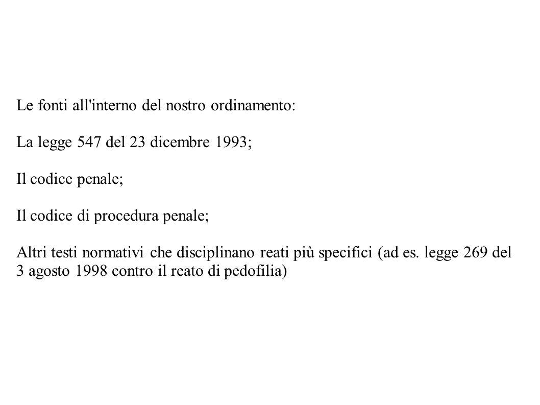 Le fonti all'interno del nostro ordinamento: La legge 547 del 23 dicembre 1993; Il codice penale; Il codice di procedura penale; Altri testi normativi