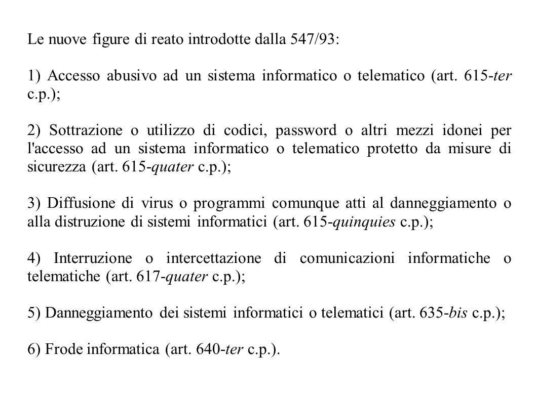 Le nuove figure di reato introdotte dalla 547/93: 1) Accesso abusivo ad un sistema informatico o telematico (art. 615-ter c.p.); 2) Sottrazione o util
