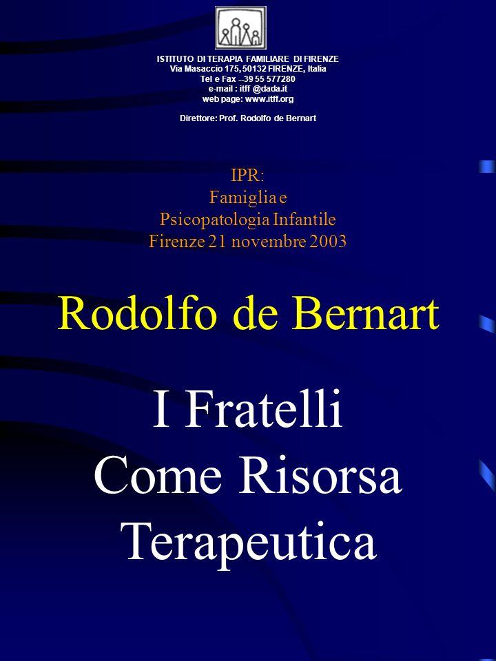 ISTITUTO DI TERAPIA FAMILIARE DI FIRENZE Via Masaccio 175, 50132 FIRENZE, Italia Tel e Fax --39 55 577280 e-mail : itff @dada.it web page: www.itff.or