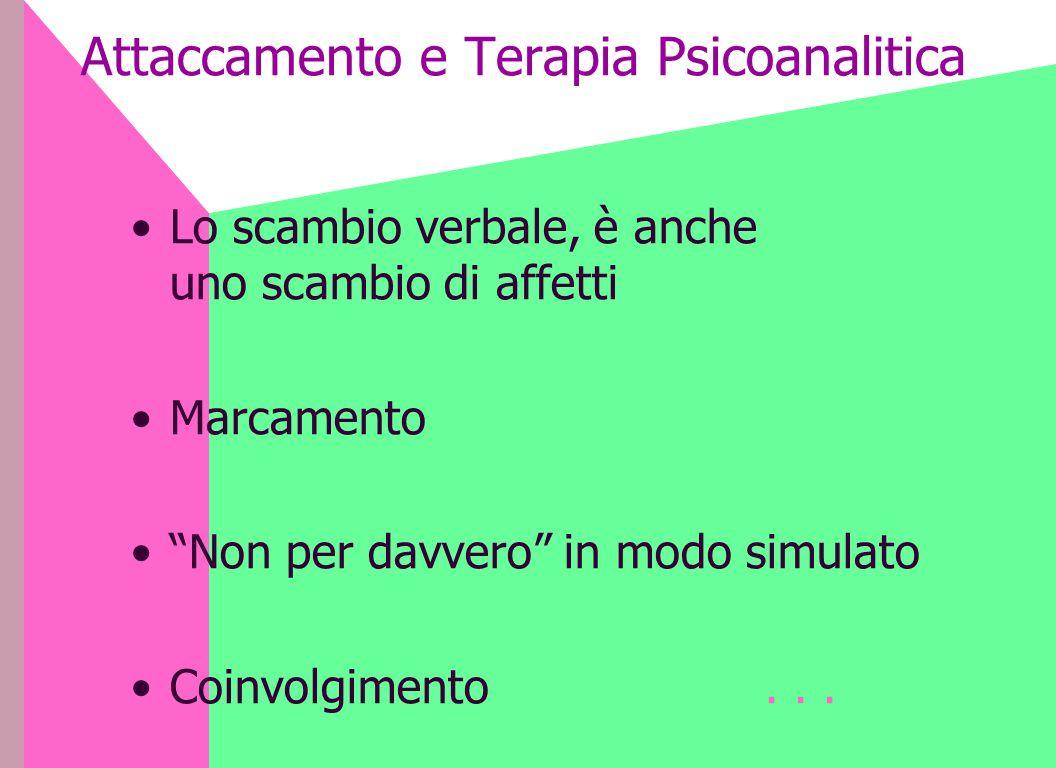Attaccamento e Terapia Psicoanalitica Lo scambio verbale, è anche uno scambio di affetti Marcamento Non per davvero in modo simulato Coinvolgimento...