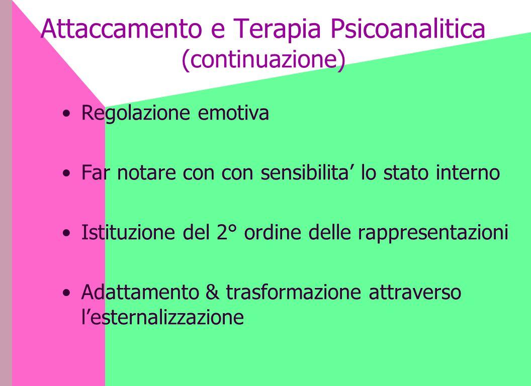 Attaccamento e Terapia Psicoanalitica (continuazione) Regolazione emotiva Far notare con con sensibilita lo stato interno Istituzione del 2° ordine de