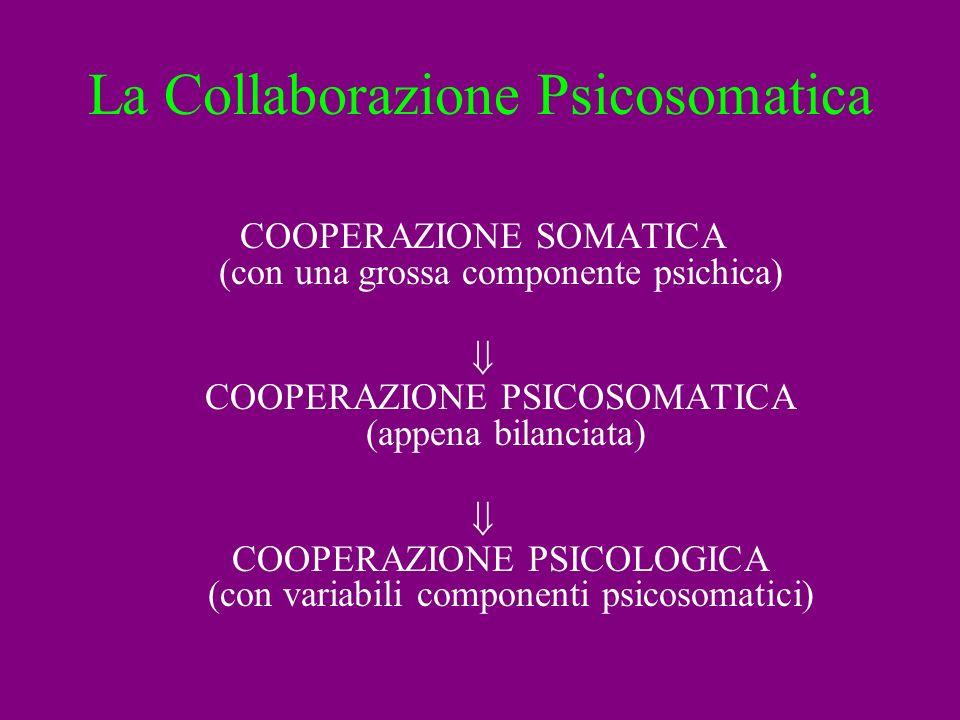La Collaborazione Psicosomatica COOPERAZIONE SOMATICA (con una grossa componente psichica) COOPERAZIONE PSICOSOMATICA (appena bilanciata) COOPERAZIONE