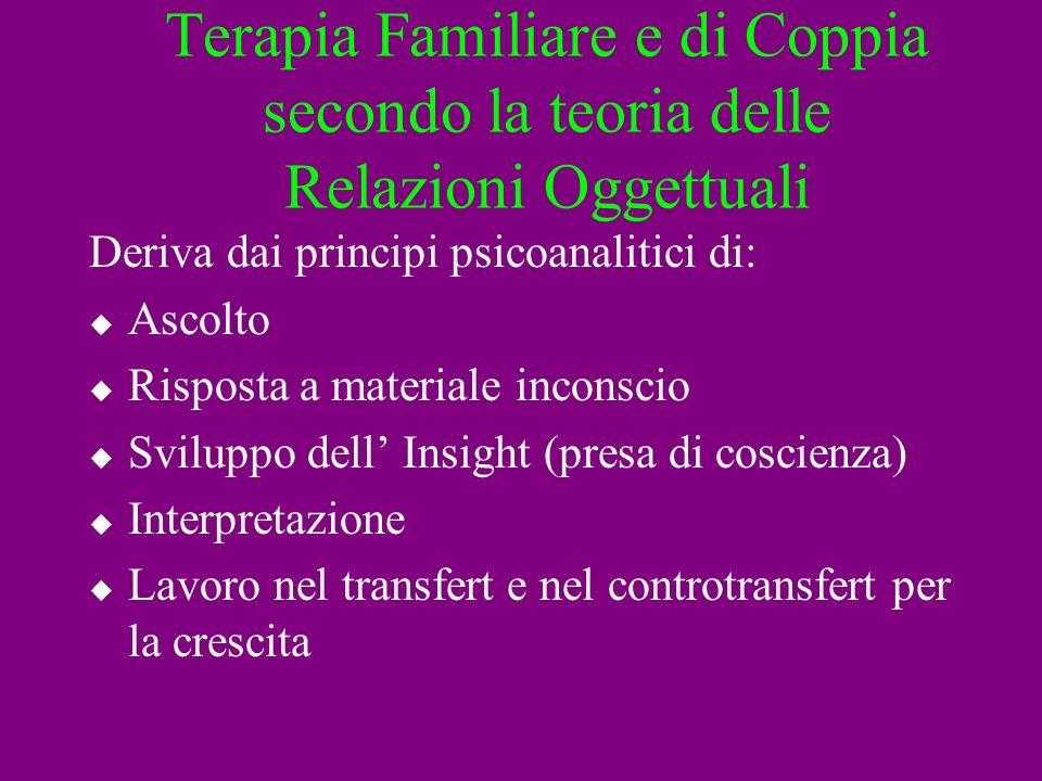Terapia Familiare e di Coppia secondo la teoria delle Relazioni Oggettuali Deriva dai principi psicoanalitici di: Ascolto Risposta a materiale inconsc