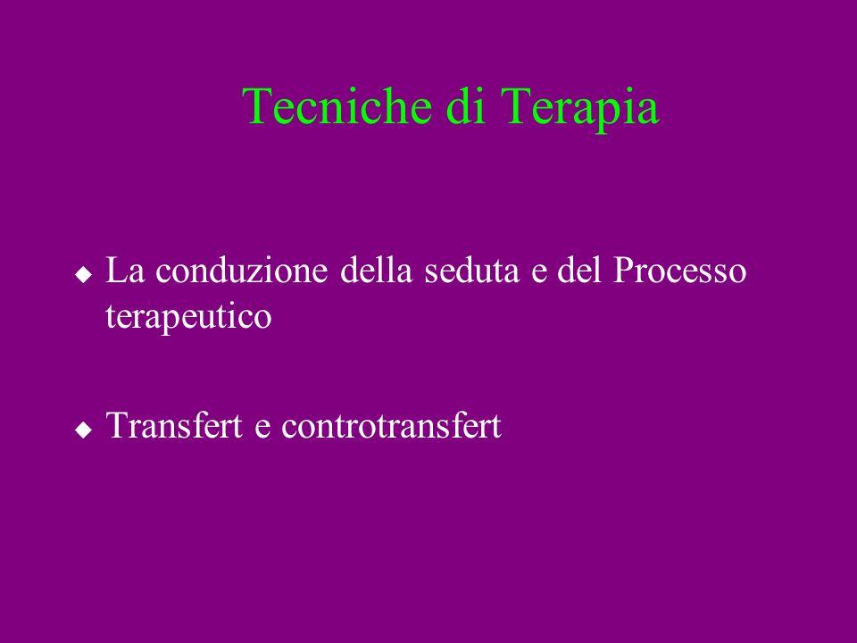 Tecniche di Terapia La conduzione della seduta e del Processo terapeutico Transfert e controtransfert