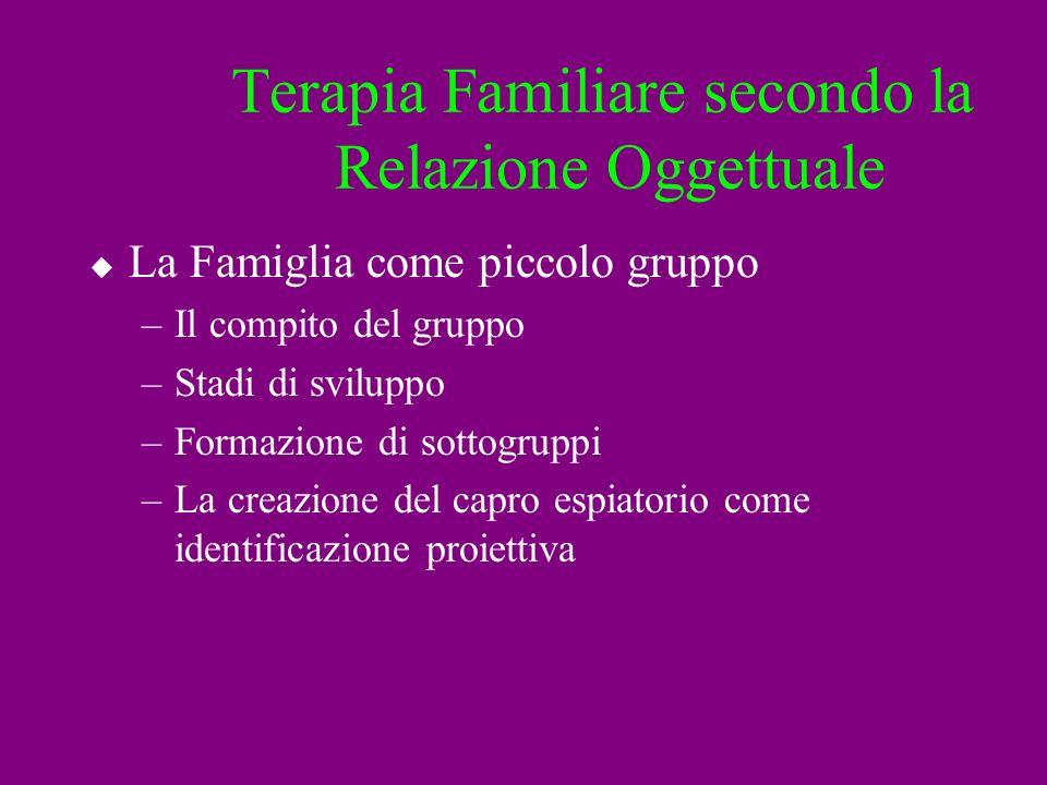 Terapia Familiare secondo la Relazione Oggettuale La Famiglia come piccolo gruppo –Il compito del gruppo –Stadi di sviluppo –Formazione di sottogruppi