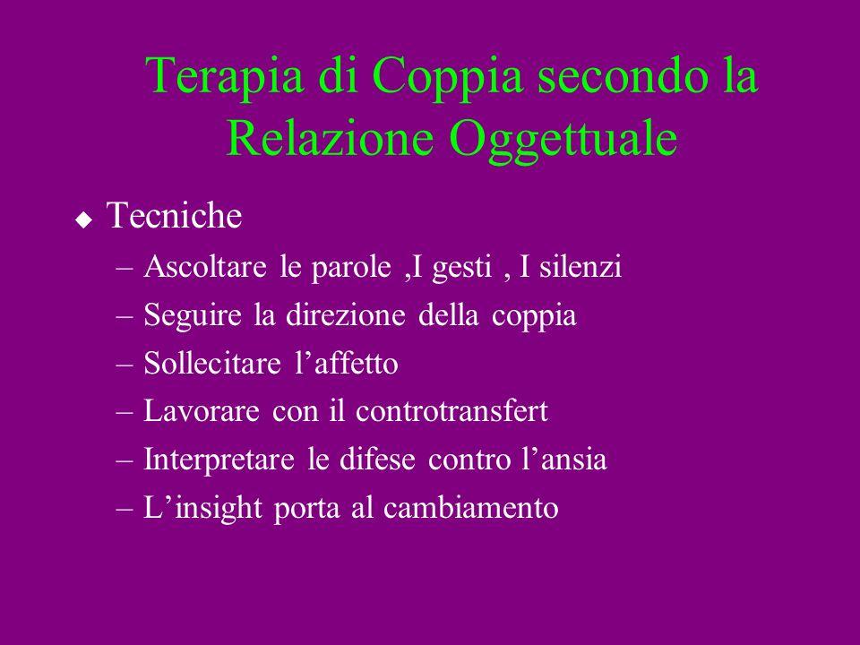 Terapia di Coppia secondo la Relazione Oggettuale Tecniche –Ascoltare le parole,I gesti, I silenzi –Seguire la direzione della coppia –Sollecitare laf