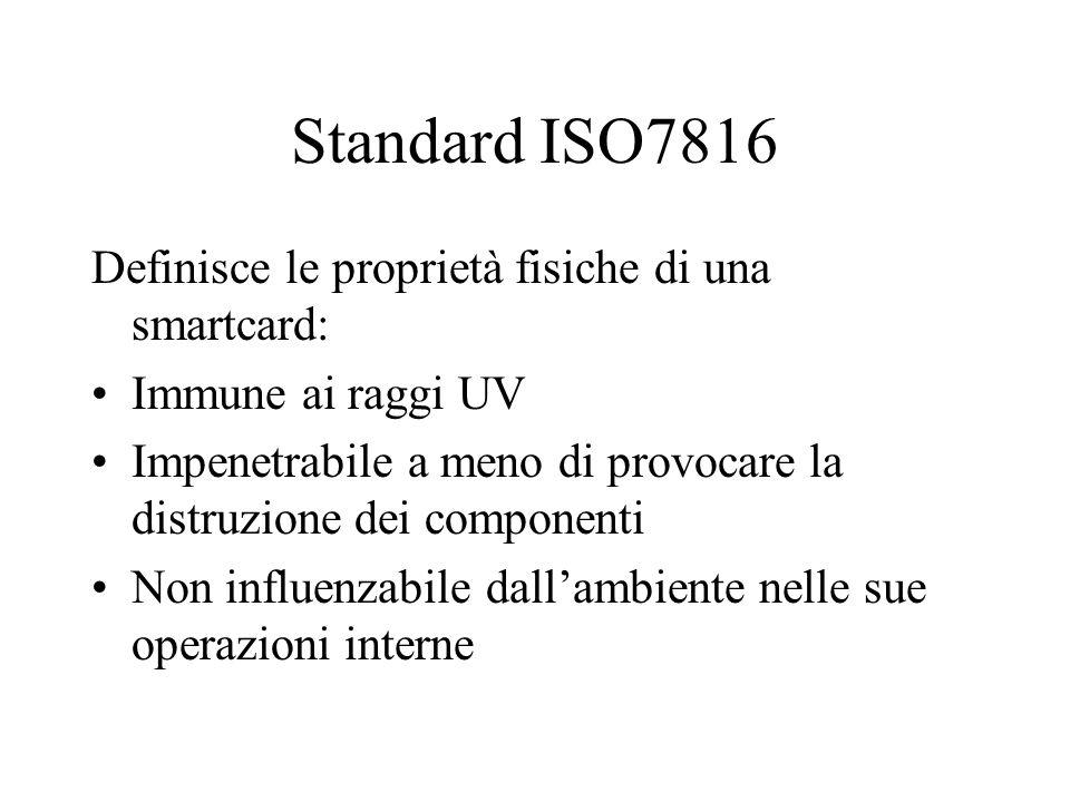Standard ISO7816 Definisce le proprietà fisiche di una smartcard: Immune ai raggi UV Impenetrabile a meno di provocare la distruzione dei componenti Non influenzabile dallambiente nelle sue operazioni interne