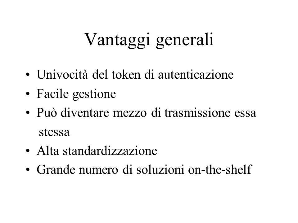 Vantaggi generali Univocità del token di autenticazione Facile gestione Può diventare mezzo di trasmissione essa stessa Alta standardizzazione Grande numero di soluzioni on-the-shelf
