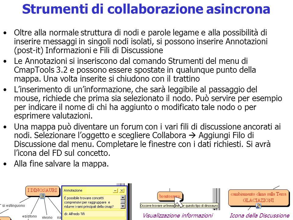 Strumenti di collaborazione asincrona Oltre alla normale struttura di nodi e parole legame e alla possibilità di inserire messaggi in singoli nodi iso