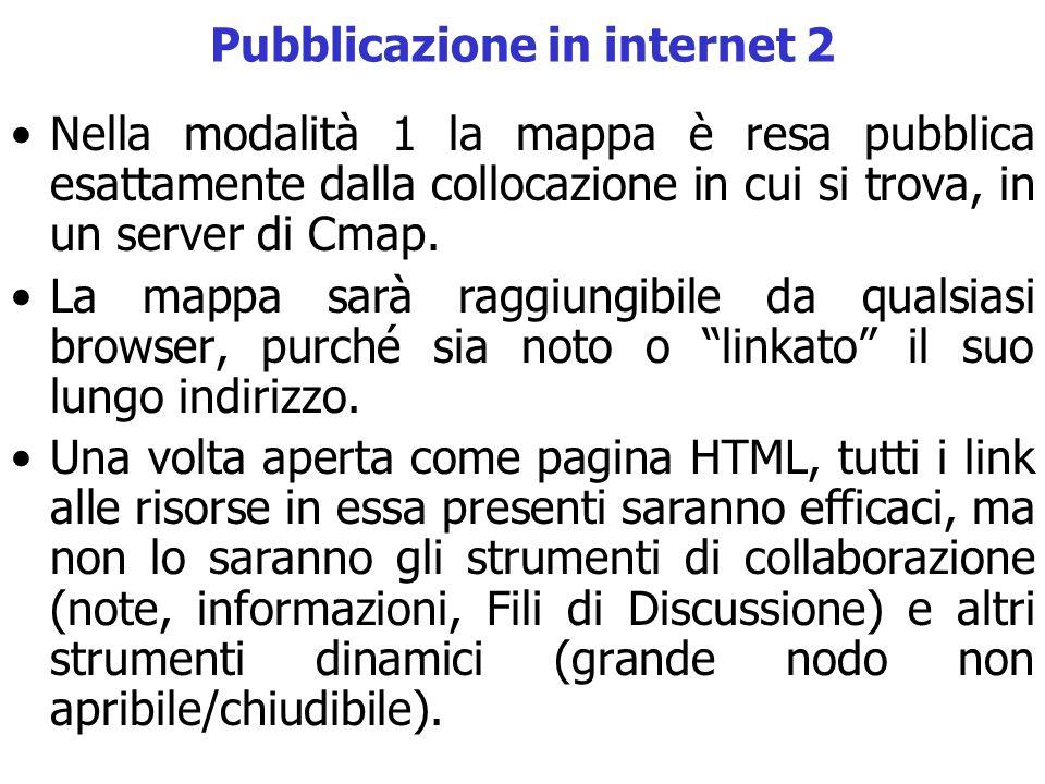 Pubblicazione in internet 2 Nella modalità 1 la mappa è resa pubblica esattamente dalla collocazione in cui si trova, in un server di Cmap. La mappa s