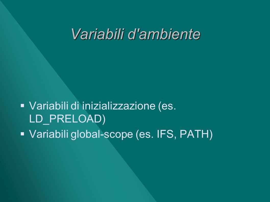 Variabili d'ambiente Variabili di inizializzazione (es. LD_PRELOAD) Variabili global-scope (es. IFS, PATH)