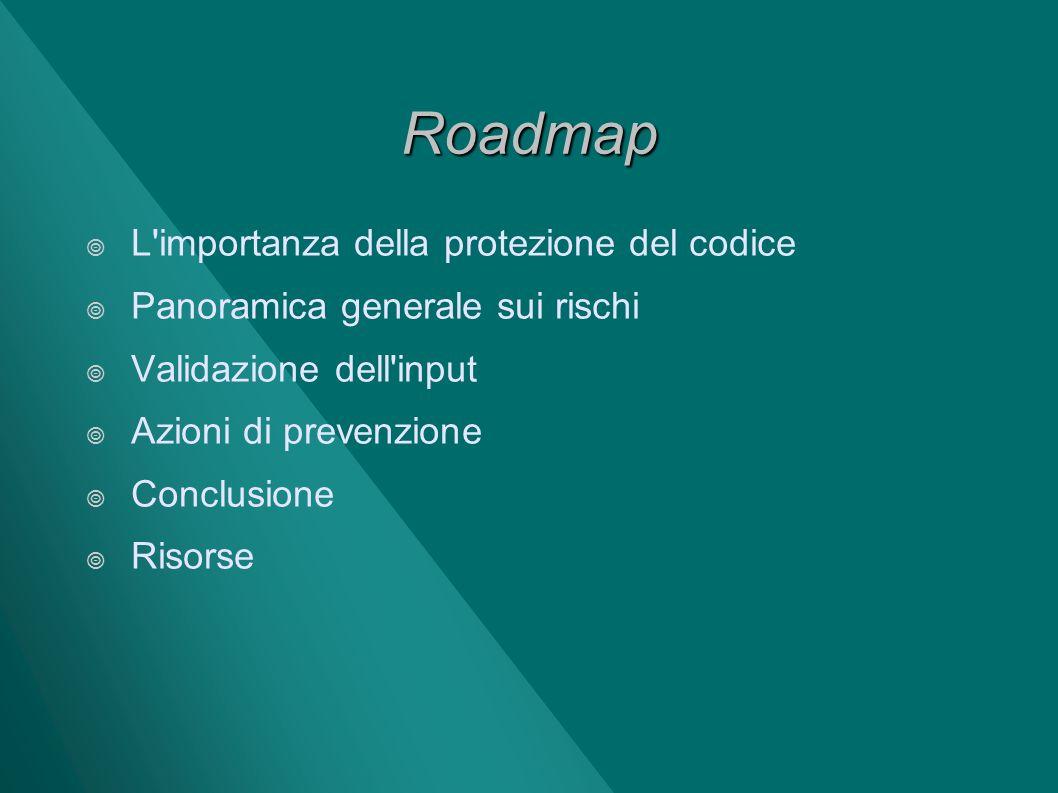 Roadmap L'importanza della protezione del codice Panoramica generale sui rischi Validazione dell'input Azioni di prevenzione Conclusione Risorse