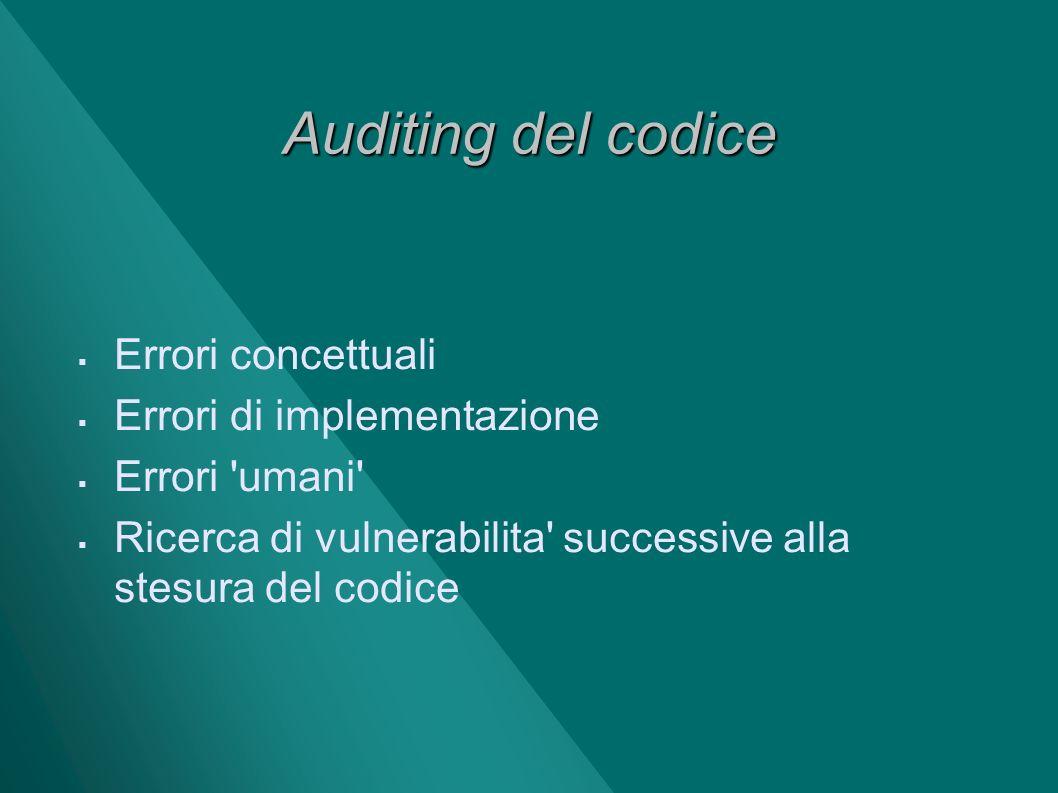 Auditing del codice Errori concettuali Errori di implementazione Errori 'umani' Ricerca di vulnerabilita' successive alla stesura del codice