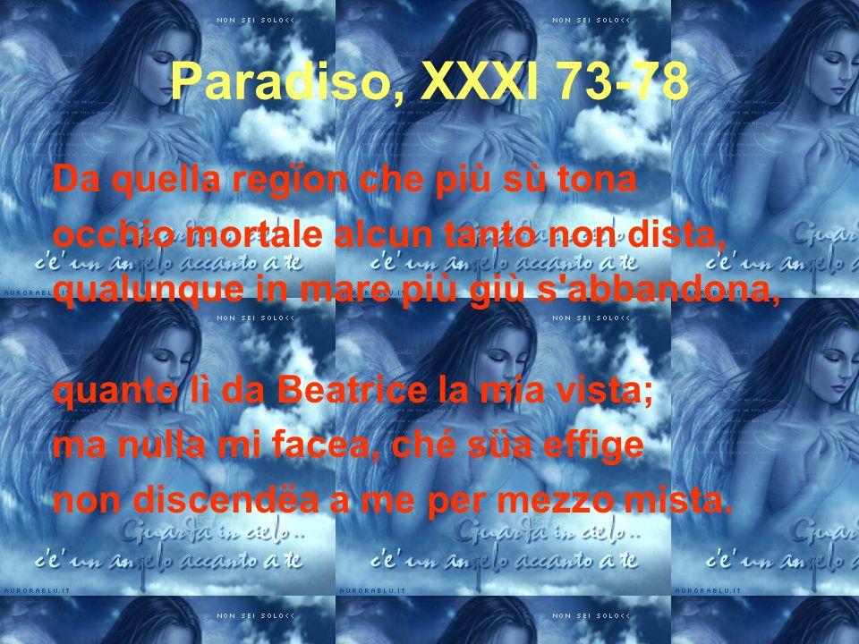 Paradiso, XXXI 73-78 Da quella regïon che più sù tona occhio mortale alcun tanto non dista, qualunque in mare più giù s'abbandona, quanto lì da Beatri