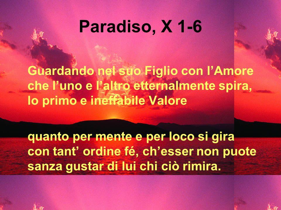 Paradiso, X 1-6 Guardando nel suo Figlio con lAmore che luno e laltro etternalmente spira, lo primo e ineffabile Valore quanto per mente e per loco si