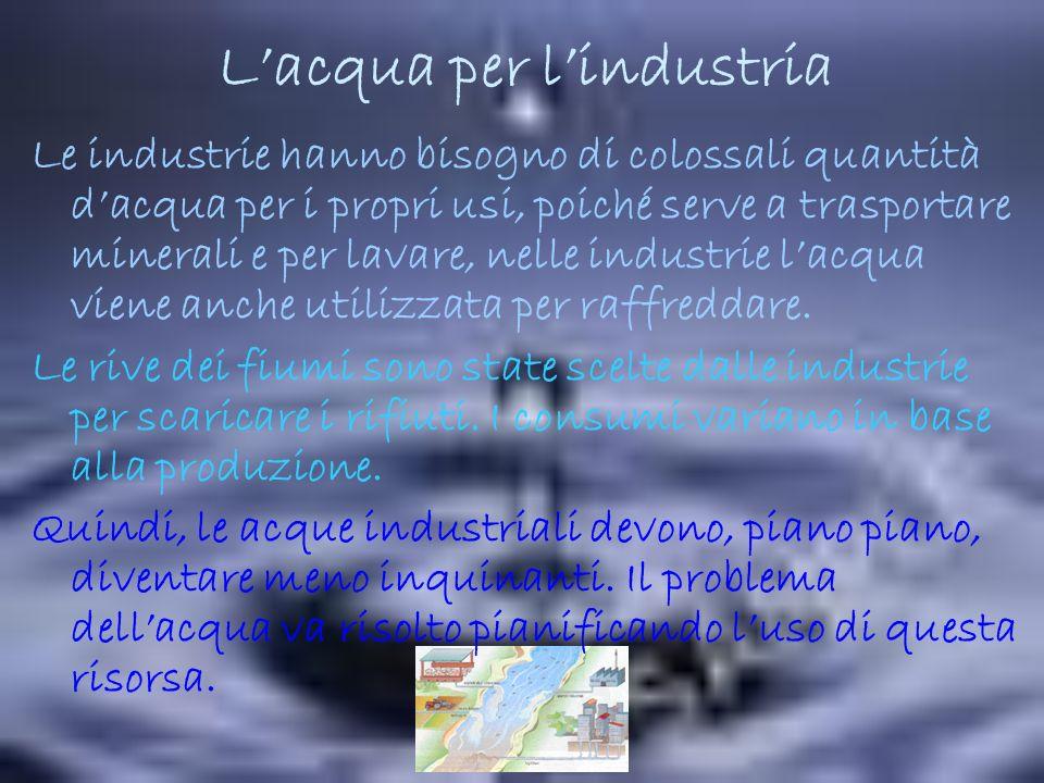 Lacqua per lindustria Le industrie hanno bisogno di colossali quantità dacqua per i propri usi, poiché serve a trasportare minerali e per lavare, nelle industrie lacqua viene anche utilizzata per raffreddare.