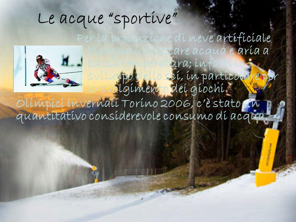 Le acque sportive Per la produzione di neve artificiale bisogna utilizzare acqua e aria a bassa temperatura; infatti lo sviluppo dello sci, in particolare per lo svolgimento dei giochi Olimpici invernali Torino 2006, cè stato un quantitativo considerevole consumo di acqua.