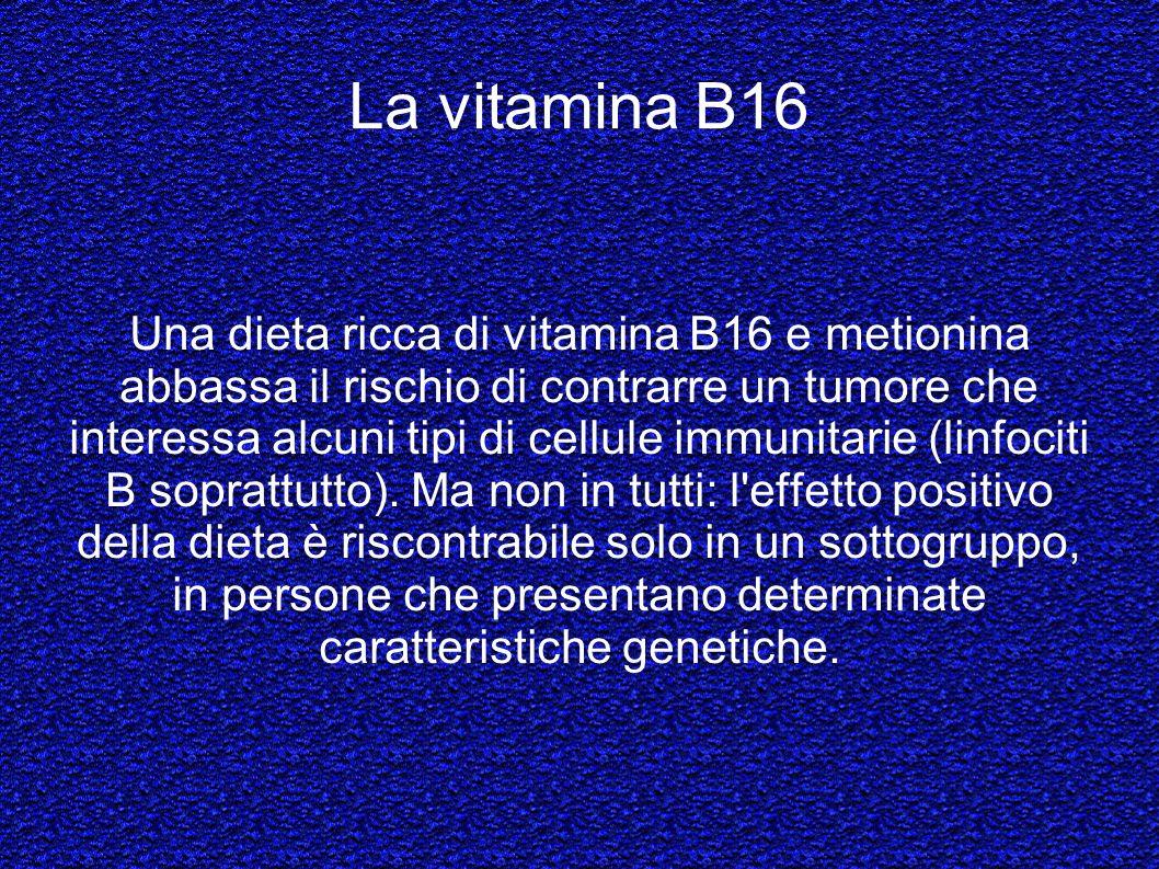 La vitamina B16 Una dieta ricca di vitamina B16 e metionina abbassa il rischio di contrarre un tumore che interessa alcuni tipi di cellule immunitarie