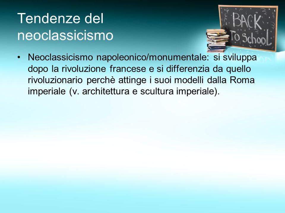 Tendenze del neoclassicismo Neoclassicismo utopistico/idealistico/romantico: è il più importante in campo letterario.