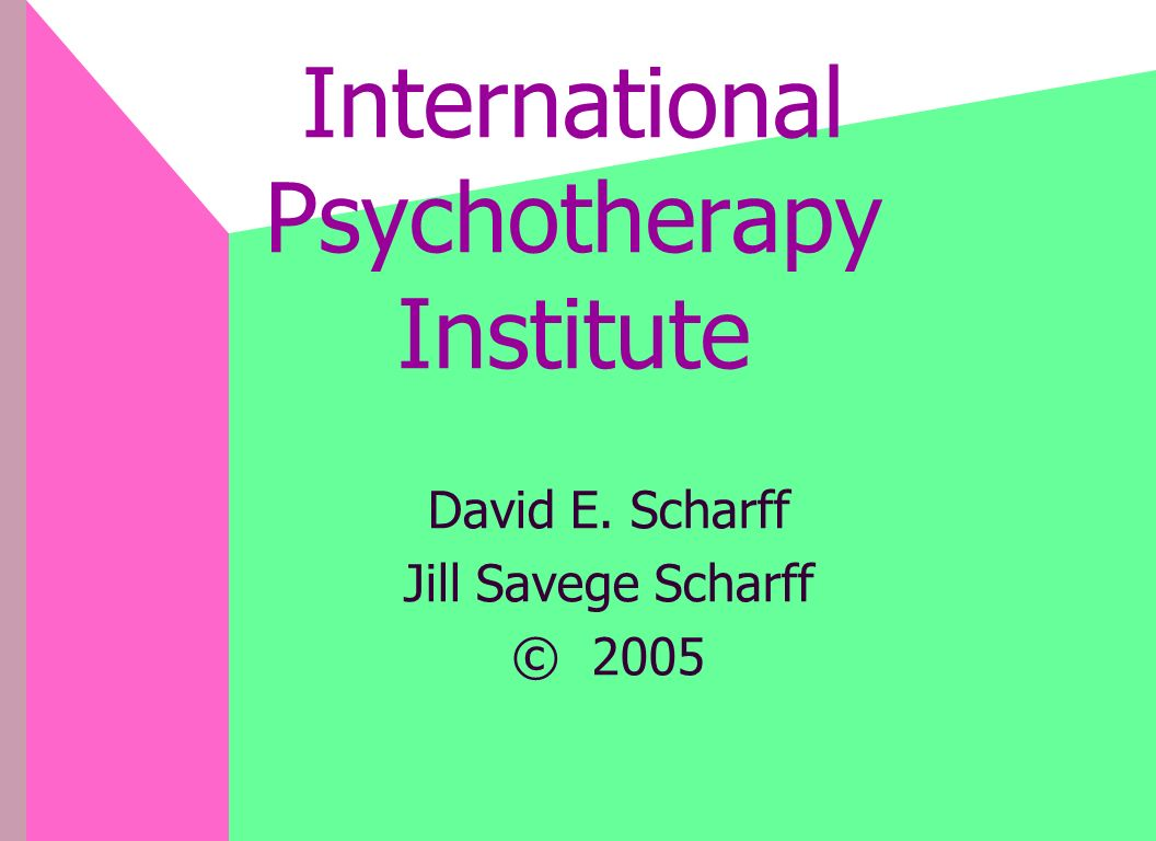 International Psychotherapy Institute David E. Scharff Jill Savege Scharff © 2005