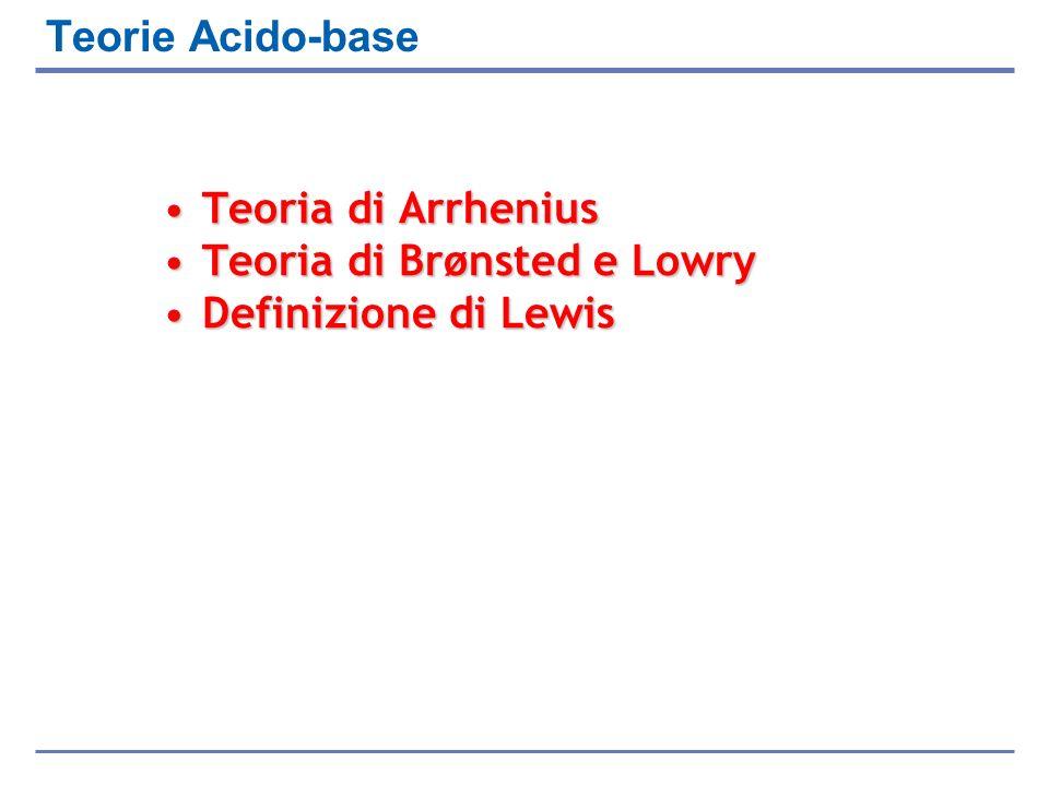 Teorie Acido-base Teoria di ArrheniusTeoria di Arrhenius Teoria di Brønsted e LowryTeoria di Brønsted e Lowry Definizione di LewisDefinizione di Lewis