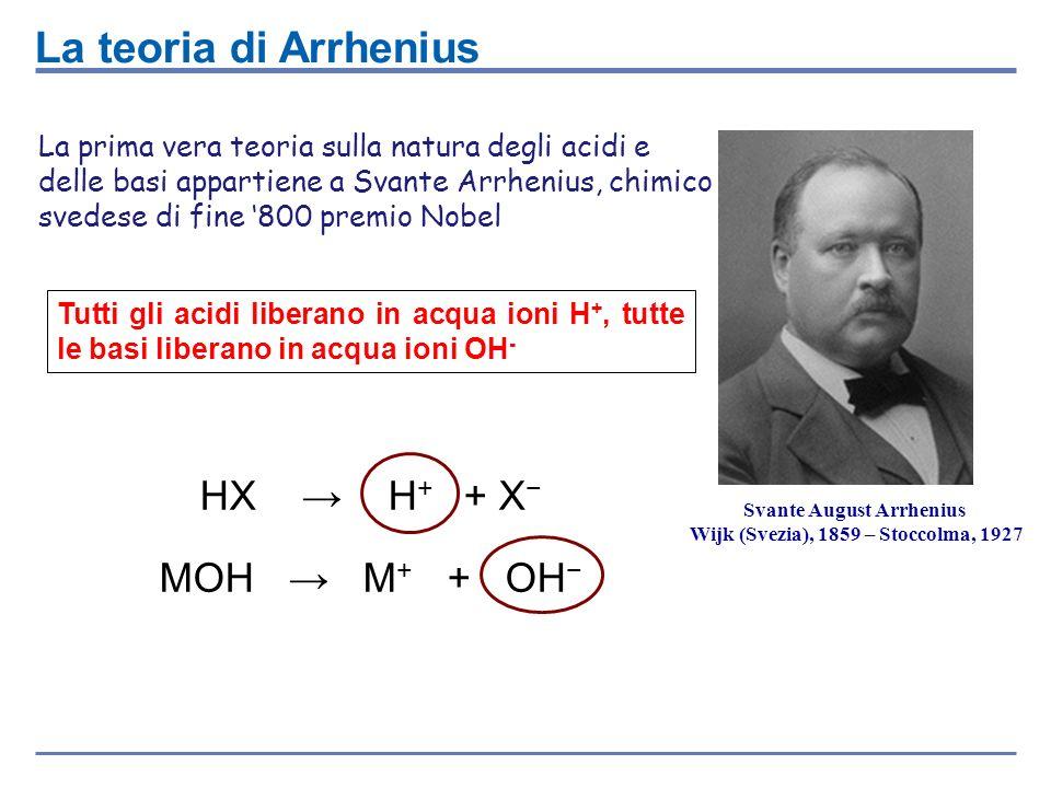 La prima vera teoria sulla natura degli acidi e delle basi appartiene a Svante Arrhenius, chimico svedese di fine 800 premio Nobel La teoria di Arrhen