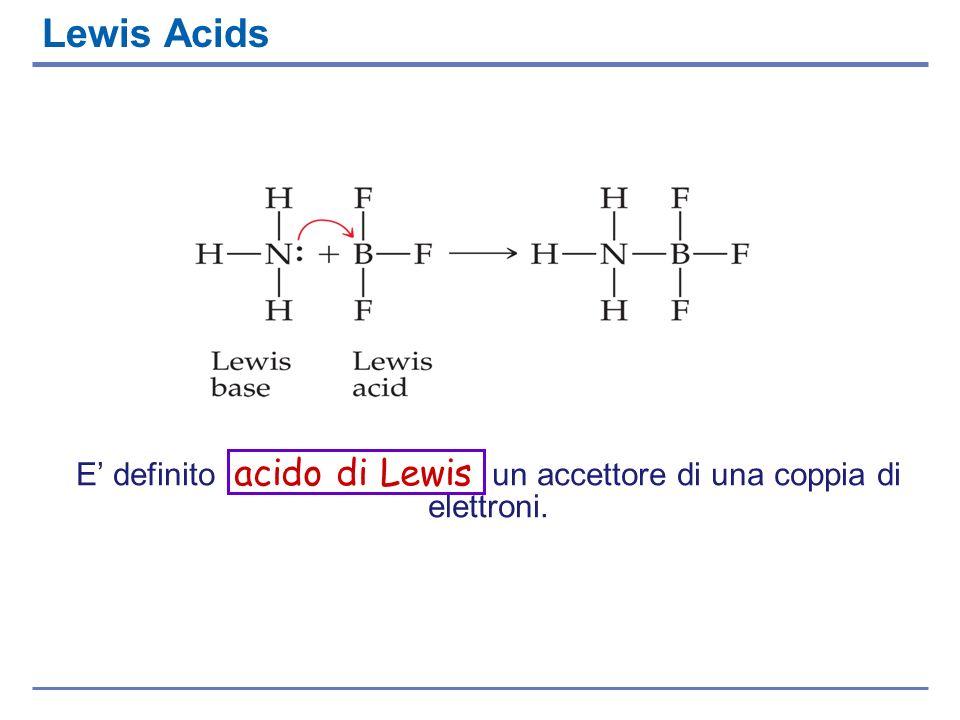 Lewis Acids E definito acido di Lewis un accettore di una coppia di elettroni.