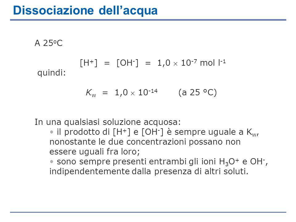 A 25 o C [H + ] = [OH - ] = 1,0 10 -7 mol l -1 quindi: K w = 1,0 10 -14 (a 25 °C) In una qualsiasi soluzione acquosa: il prodotto di [H + ] e [OH - ]