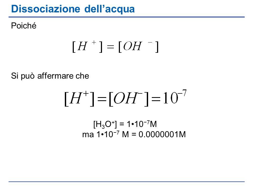 Dissociazione dellacqua Poiché Si può affermare che [H 3 O + ] = 110 7 M ma 110 7 M = 0.0000001M
