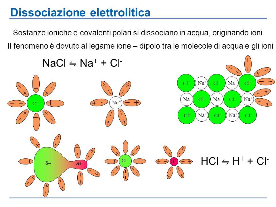 Le sostanze che in acqua producono ioni si vengono dette elettroliti La dissociazione da cui si originano si dice dissociazione elettrolitica Le soluzioni che così si formano sono dette soluzioni elettrolitiche Soluzioni Elettrolitiche Elettrolita forte = specie chimica che in soluzione si dissocia completamente Acidi forti: HCl, HBr, HNO 3, HClO 4, H 2 SO 4 Elettrolita debole = specie chimica che in soluzione si dissocia parzialmente Acidi deboli: H 2 CO 3, H 2 SO 3, H 3 PO 4, H 3 PO 3, H 2 S, HF,