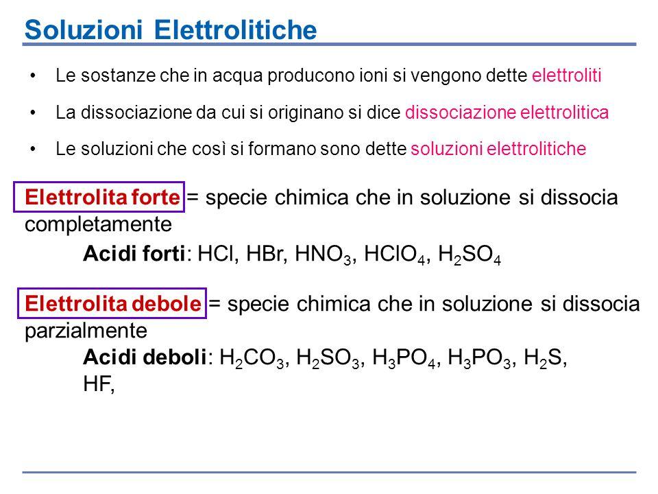 Le sostanze che in acqua producono ioni si vengono dette elettroliti La dissociazione da cui si originano si dice dissociazione elettrolitica Le soluz