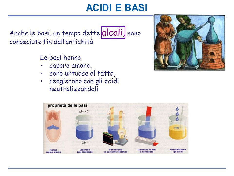 Anche le basi, un tempo dette alcali, sono conosciute fin dallantichità Le basi hanno sapore amaro, sono untuose al tatto, reagiscono con gli acidi ne