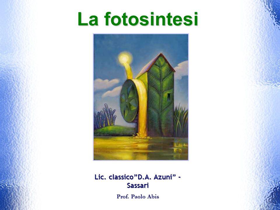 La fotosintesi Lic. classicoD.A. Azuni - Sassari Prof. Paolo Abis Prof. Paolo Abis
