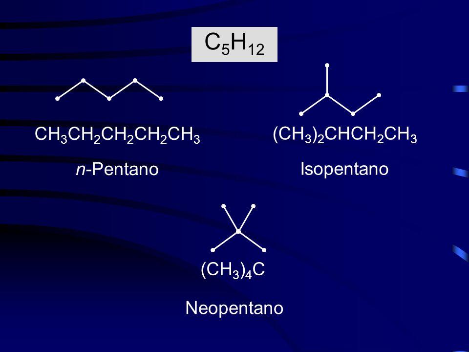 n-Pentano CH 3 CH 2 CH 2 CH 2 CH 3 Isopentano (CH 3 ) 2 CHCH 2 CH 3 Neopentano (CH 3 ) 4 C C 5 H 12