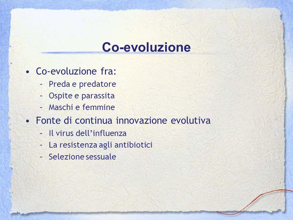 Co-evoluzione Co-evoluzione fra: –Preda e predatore –Ospite e parassita –Maschi e femmine Fonte di continua innovazione evolutiva –Il virus dellinflue