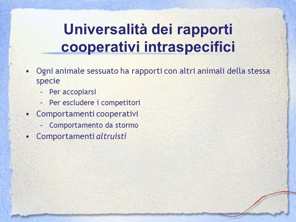 Universalità dei rapporti cooperativi intraspecifici Ogni animale sessuato ha rapporti con altri animali della stessa specie –Per accopiarsi –Per escl