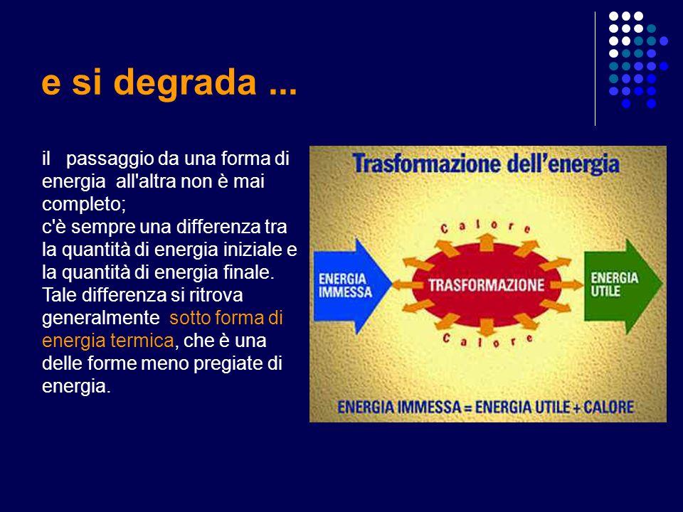 e si degrada... il passaggio da una forma di energia all'altra non è mai completo; c'è sempre una differenza tra la quantità di energia iniziale e la