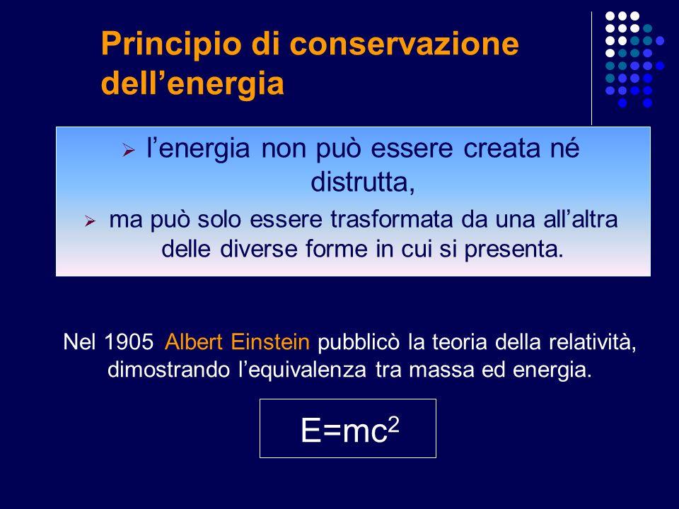 Principio di conservazione dellenergia lenergia non può essere creata né distrutta, ma può solo essere trasformata da una allaltra delle diverse forme