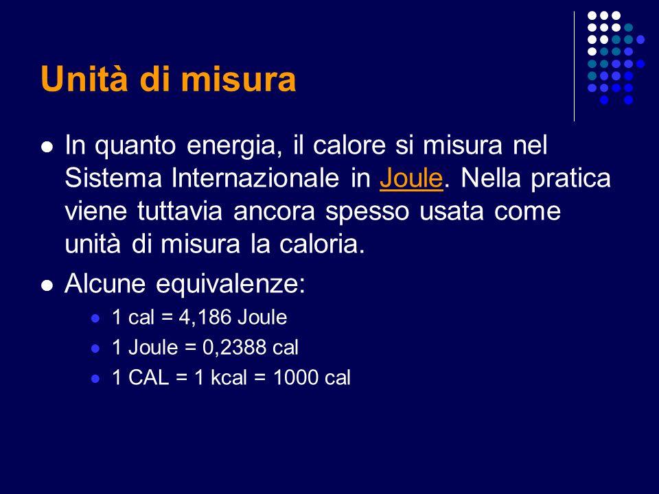 Unità di misura In quanto energia, il calore si misura nel Sistema Internazionale in Joule. Nella pratica viene tuttavia ancora spesso usata come unit
