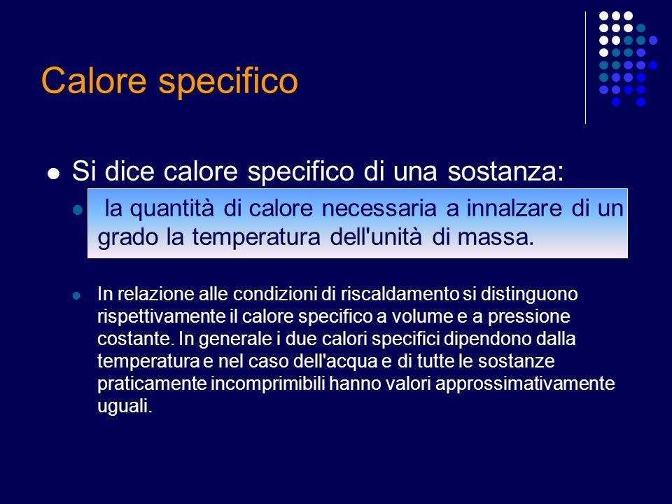 Calore specifico Si dice calore specifico di una sostanza: la quantità di calore necessaria a innalzare di un grado la temperatura dell'unità di massa