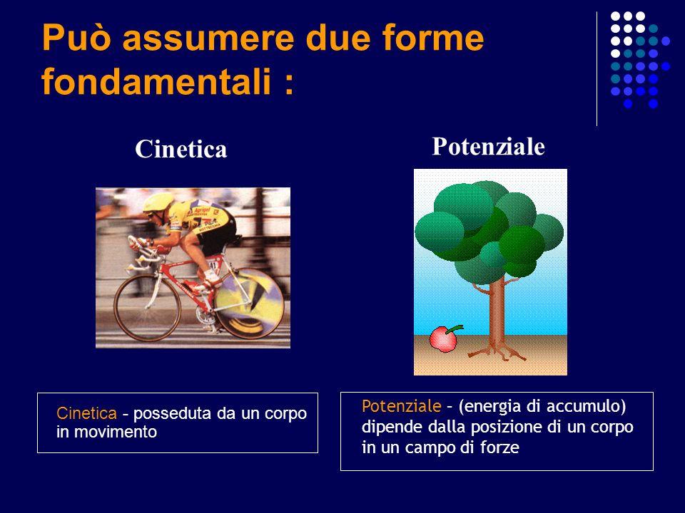 Può assumere due forme fondamentali : Cinetica Potenziale Cinetica - posseduta da un corpo in movimento Potenziale – (energia di accumulo) dipende dal