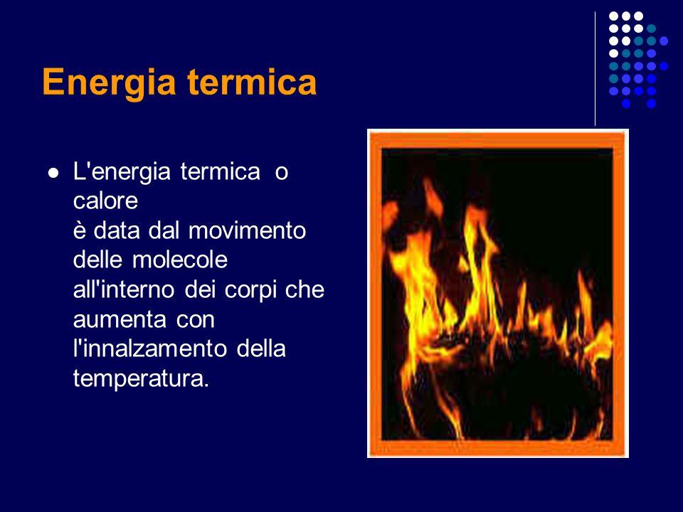 Energia termica L'energia termica o calore è data dal movimento delle molecole all'interno dei corpi che aumenta con l'innalzamento della temperatura.